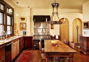 美式风格别墅室内复古厨房设计装修效果图