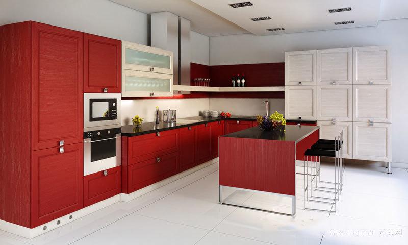 现代风格中国红厨房设计装修效果图赏析
