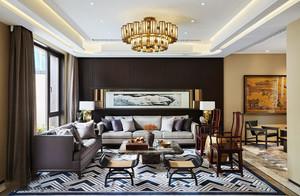 中式风格优雅精美别墅客厅装修效果图