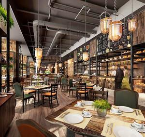 美式风格文艺精美西餐厅装修效果图