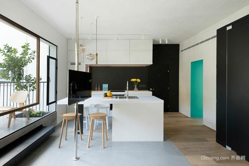 现代简约风格开放式厨房吧台设计装修效果图
