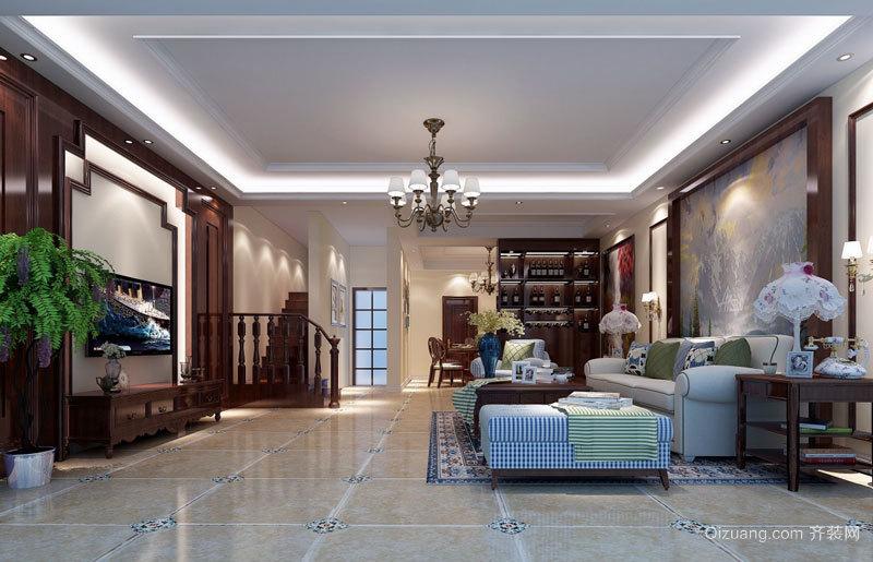 中式风格古典别墅客厅电视背景墙装修效果图