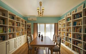美式风格清新大户型书房设计装修效果图