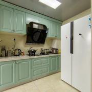 欧式风格精美薄荷绿厨房橱柜装修效果图