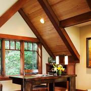 中式风格阁楼书房设计装修效果图