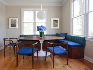 美式风格精美复古餐厅卡座设计装修效果图