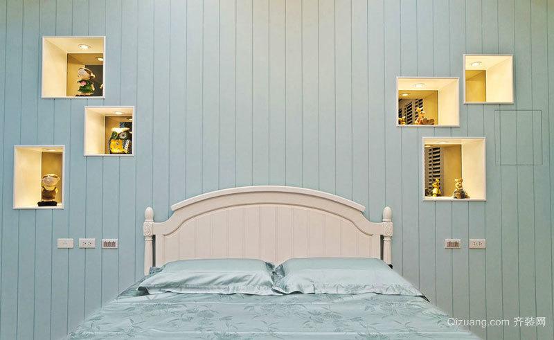 清新风格精美卧室背景墙装修效果图