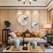 中式风格素雅精美客厅背景墙装修效果图