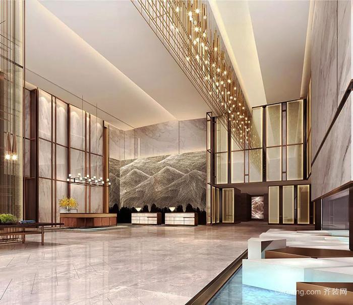 新中式风格精致酒店大堂设计装修效果图