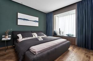 现代风格时尚冷色调精美卧室飘窗装修效果图