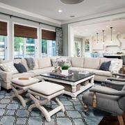 美式风格精致别墅时尚客厅设计装修效果图