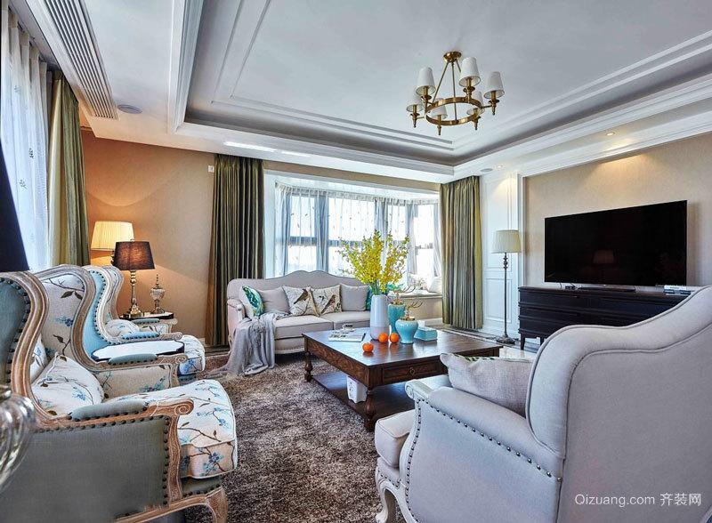 美式田园风格精美客厅设计装修效果图