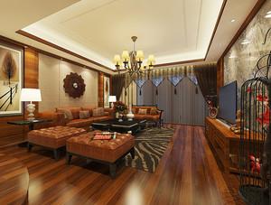 87平米东南亚风格精致两室两厅室内装修效果图