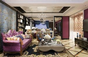 法式风格奢华精美大户型室内装修效果图,法式风格讲究将建筑点缀在自然中,在设计上讲求心灵的自然回归感,给人一种扑面而来的浓郁气息。