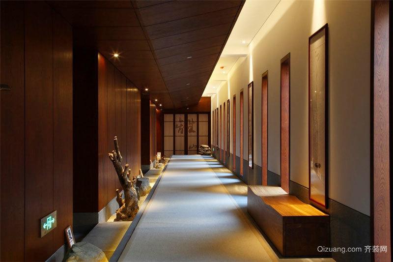 中式风格精致酒店过道设计装修效果图