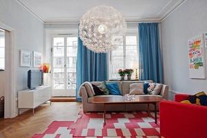 北欧风格简单时尚两室两厅室内装修效果图,北欧家具以简约著称,具有很浓的后现代主义特色,注重流畅的线条设计。
