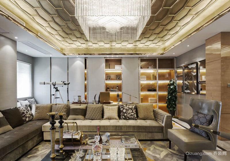 欧式风格精美奢华客厅吊顶设计装修效果图
