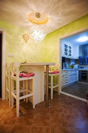 欧式田园风格清新三室两厅室内设计装修效果图