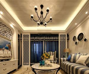 地中海风格精致两室两厅室内设计装修效果图,地中海风格的基础是明亮、大胆、色彩丰富、简单、民族性、有明显特色。蓝白搭配时尚清新。