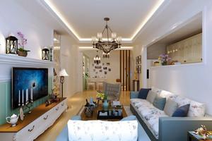 90平米简欧风格室内设计装修效果图,简欧风格装修,更加符合现在人的生活需求,精美的布艺沙发色剂,创意的壁炉电视背景墙,看起来十分有欧式韵味又有时代气息。