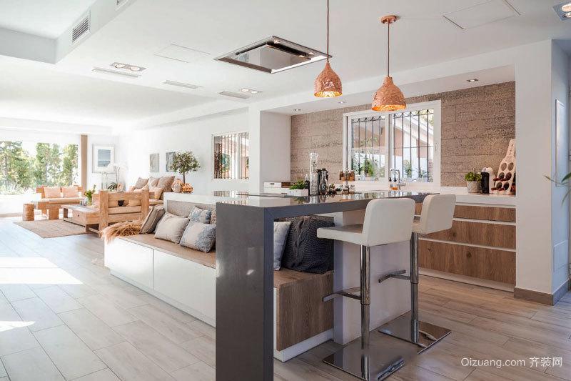 现代简约风格精美客厅吧台设计装修效果图