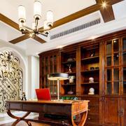 美式风格精致复古别墅书房设计装修效果图