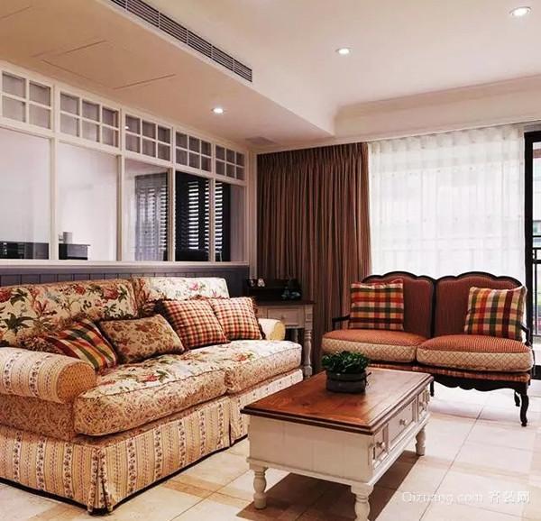 欧式田园风格精美三室两厅室内装修效果图
