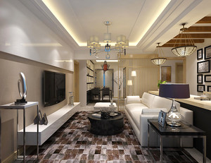新中式风格精致大户型室内设计装修效果图,新中式风格将中式元素与现代材质的巧妙兼柔,让客厅看起来既时尚又富有复古的优雅美感。
