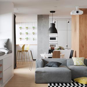81平米北欧风格简约小复式楼室内装修效果图,北欧家具以简约著称,具有很浓的后现代主义特色,注重流畅的线条设计。简单又实用。