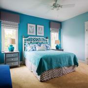 地中海风格精美蓝色卧室设计装修效果图