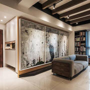 后现代风格精美客厅背景墙设计装修效果图