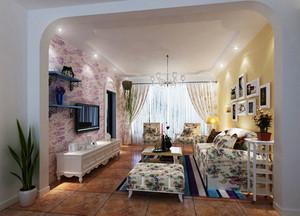 欧式田园风格精美一居室室内装修效果图,沙发选择复古点的3人长条沙发,颜色尽量和墙拉开距离,可以是跳跃点的颜色。