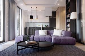 68平米现代简约风格时尚公寓设计装修效果图