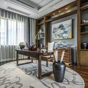 新中式风格大户型典雅书房设计装修效果图