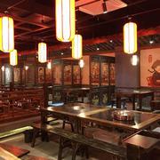 中式风格古典精致火锅店设计装修效果图