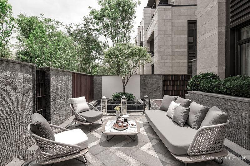 新中式风格精致别墅花园设计装修效果图