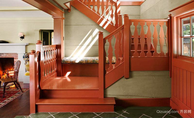东南亚风格精致实木楼梯设计装修效果图