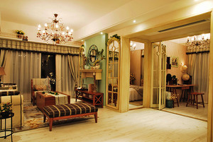 美式田园风格精美两室两厅室内设计装修效果图