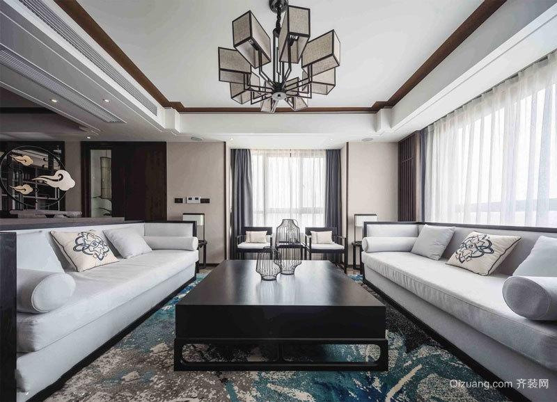 新中式风格复古精致客厅设计装修效果图