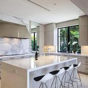 现代风格精美开放式厨房吧台设计装修效果图