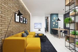 58平米现代简约风格精致单身公寓装修效果图,现代简约风格是以简约为主的装修风格。在装修要多注意色彩搭配,黄色和黑色,白色的搭配看起来时尚精美。