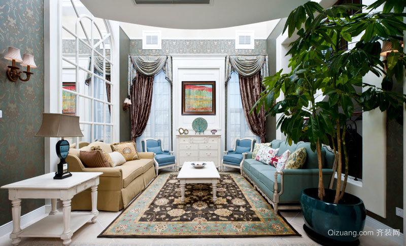 地中海风格精美浅色客厅设计装修效果图