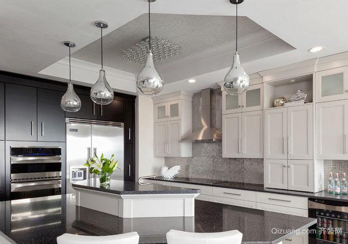 简欧风格精美大户型厨房设计装修效果图