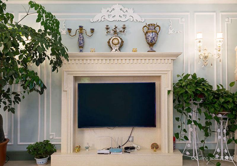 欧式风格精美客厅电视背景墙设计装修效果图