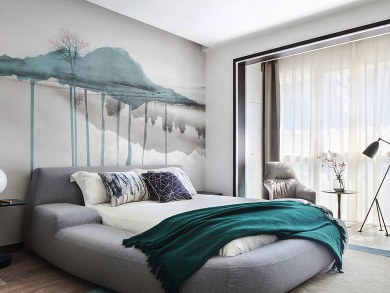 新中式风格时尚精美卧室背景墙装修效果图