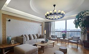 新中式风格精致大户型室内设计装修效果图,新中式风格将中式风格装修简化更适合现代人的需求,没有了中式的沉闷感。
