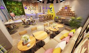 45平米现代简约咖啡厅设计装修图