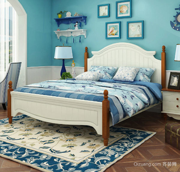 地中海风格精美清爽卧室设计装修效果图