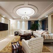 欧式风格别墅室内精美客厅吊顶装修效果图