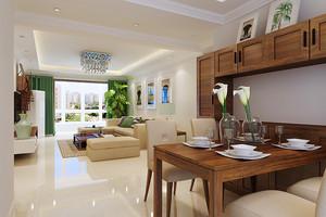 69平米现代风格时尚一居室室内装修效果图,简约的设计,没有过多的装饰,在搭配上采用浅色和原木色的搭配,让室内看起来简单舒适。